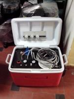 modulo 3 servicios con jeringa, pedal neumático, tanque para agua y para aire, compresor thomas de 1HP, eyector opcional